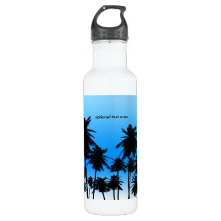 Palm Trees Blue Beach Tropical Theme Stainless Steel Water Bottle