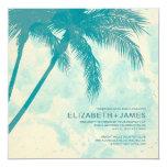 Palm Trees Burlap Wedding Invitations