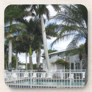 Palm Trees by the Pool Drink Coasters