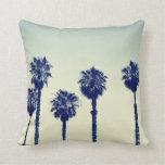 Palm Trees California Retro Throw Pillow