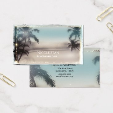 Beach Themed Palm Trees Elegant Tropical Beach Classy Chic Business Card