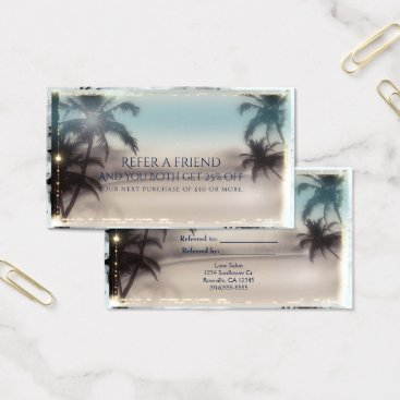 Beach Themed Palm Trees Elegant Tropical Beach Refer a Friend Business Card