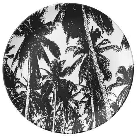 Palm Trees in a Posterised Design Dinner Plate