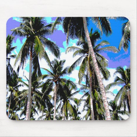 Palm Trees in a Posterised Design Mouse Pad