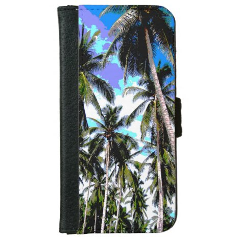 Palm Trees in a Posterised Design Wallet Phone Case For iPhone 6/6s