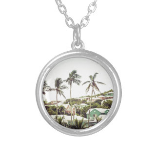 Palm Trees in Bermuda Silver Plated Necklace