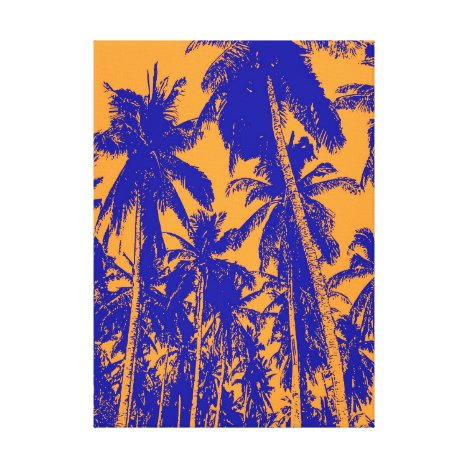 Palm Trees in Blue and Orange Canvas Print