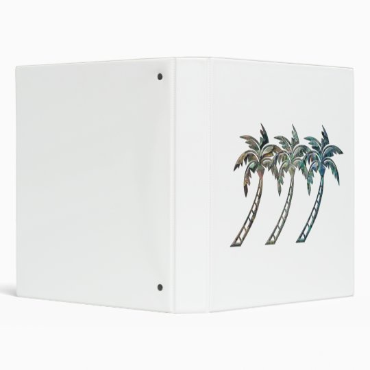 Palm Trees in Paua Shell Textures 3 Ring Binder