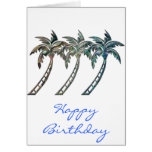 Palm Trees in Paua Shell Textures Cards