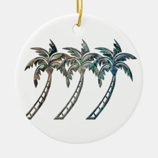 Palm Trees in Paua Shell Textures Christmas Tree Ornament