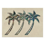 Palm Trees in Paua Shell Textures Posters