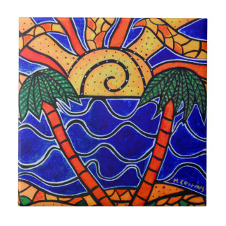 Palm Trees In Sunset Tropical Tile Beach Art