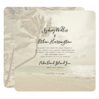 Palm Trees Island Beach Sepia Wedding Invitation