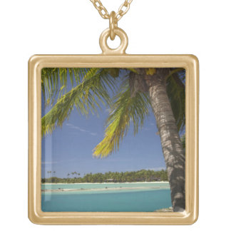 Palm trees & lagoon, Musket Cove Island Resort Personalized Necklace