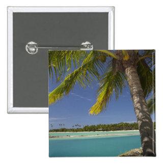 Palm trees & lagoon, Musket Cove Island Resort Pinback Button