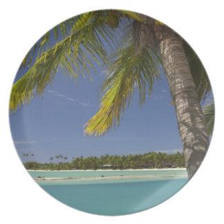 Palm trees & lagoon, Musket Cove Island Resort Plate