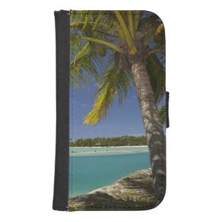 Palm trees & lagoon, Musket Cove Island Resort Wallet Phone Case For Samsung Galaxy S4