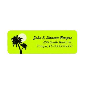 Palm Trees Lime Return Address Label
