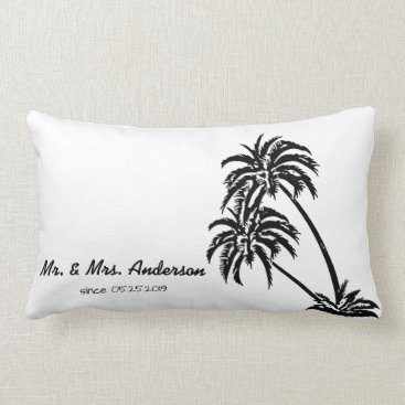 Beach Themed Palm Trees Love Tropical Wedding Personalized Lumbar Pillow