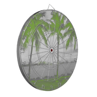Palm Trees Miami, Florida Green Dartboard With Darts