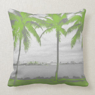 Palm Trees Miami, Florida Green Throw Pillow