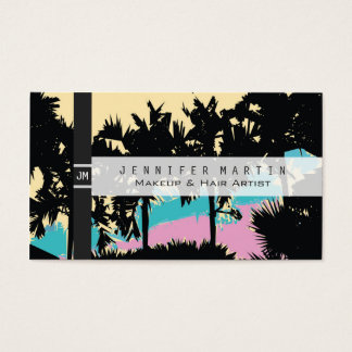 Palm Trees Modern Pink Yellow Blue Abstract Business Card