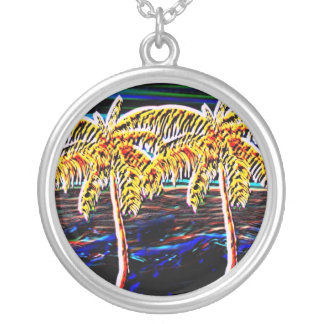 palm trees neon color round pendant necklace