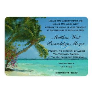 Palm Trees Ocean Destination Wedding Invitations