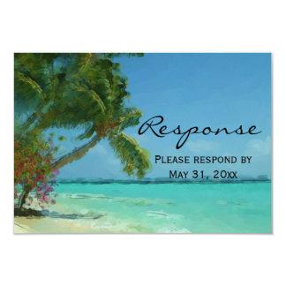Palm Trees Ocean Destination Wedding RSVP Custom Announcements