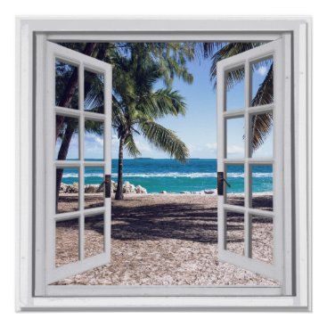 Beach Themed Palm Trees Ocean View Fake Window Poster