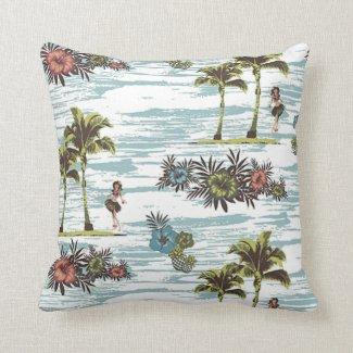 Palm Trees Ocean Waves Hawaiian Beach Pattern Throw Pillow