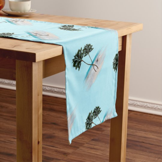 Awesome Palm Trees Oceanside Tropical Pattern Table Runner