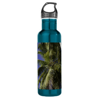 Palm trees on a Caribbean tropical island Water Bottle