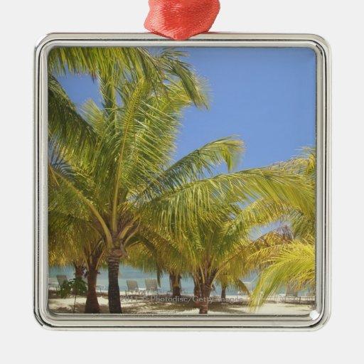 Palm Trees on a Honduras White Sand Beach Metal Ornament