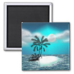 Palm Trees on a Tropical Island 2 Inch Square Magnet