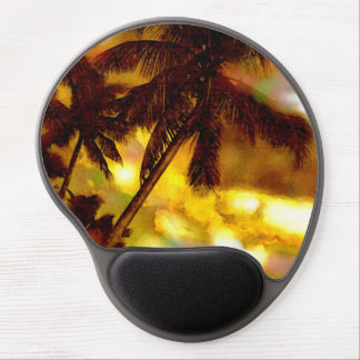 Palm Trees on Beach Artwork Yellow Brown Sky Gel Mouse Pad