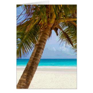 Palm Trees on Beach Blue Sea & Sky Card