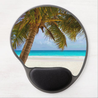 Palm Trees on Beach Blue Sea & Sky Gel Mouse Pad
