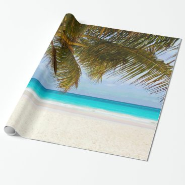 Beach Themed Palm Trees on Beach Blue Sea & Sky Wrapping Paper