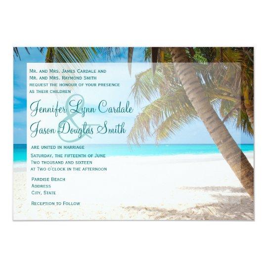 Palm Trees on Beach Destination Wedding Invitation