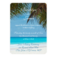 Palm Trees On Beach Wedding Invitations