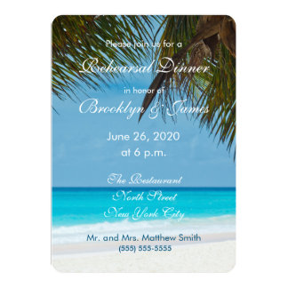 "Palm Trees On Beach Wedding Rehearsal Invitations 5"" X 7"" Invitation Card"