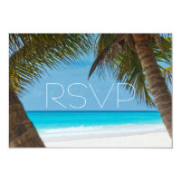 Palm Trees On Beach Wedding RSVP Cards