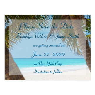 Palm Trees On Beach Wedding Save The Date Postcard