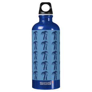 Palm Trees on Blue Aluminum Water Bottle