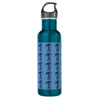 Palm Trees on Blue Water Bottle