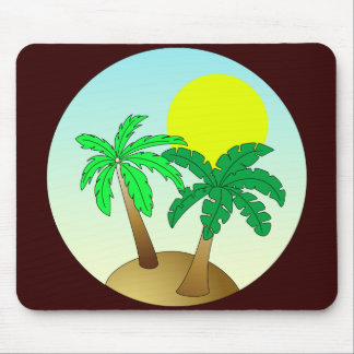 Palm trees on blue with sun mouse pad