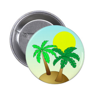 Palm trees on blue with sun pinback button