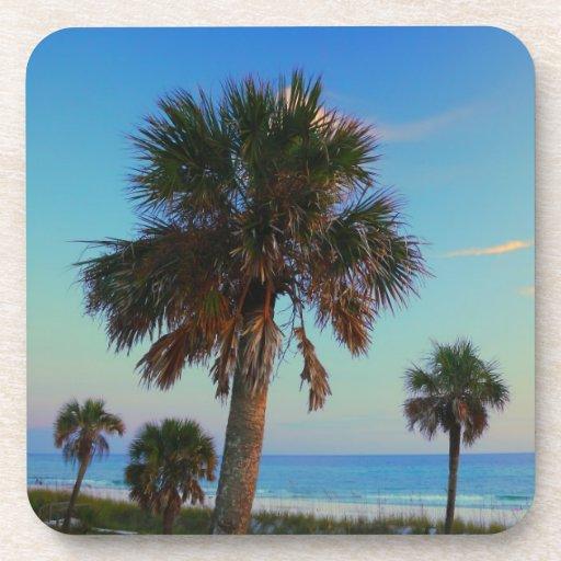 Palm Trees on Florida Beach Drink Cork Coasters