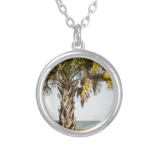 Palm Trees on Myrtle Beach East Coast Boardwalk Silver Plated Necklace